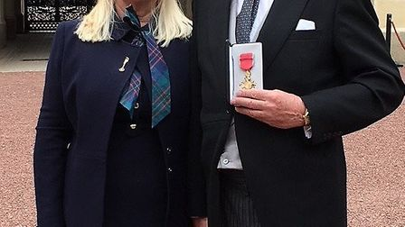 Rodney Bass receiving his OBE, with wife Margaret. Picture: Essex Freemasons