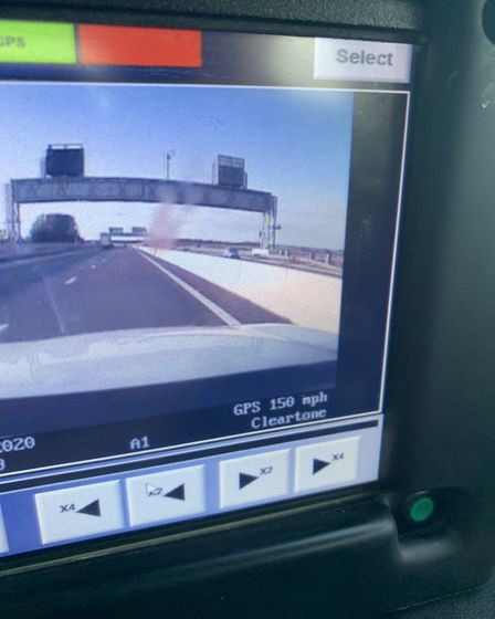 Two drivers were caught speeding, one at 110mph on the A14 and another at 150mph on the A1 north. Pi