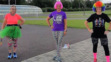 Cathy, Jo and Lizzie ready for the #RunWithPride event. Picture: SUPPLIED/CATHY GIBB-DE SWARTE