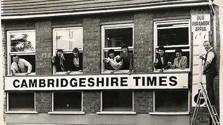 Godfrey Palmer at the previous Cambs Times office on High Street, March in the 1980s where he used t
