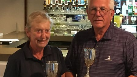 Dawn and Mike Robinson won the Johnson Goblets competition at March Golf Club. Picture: MARCH GOLF C