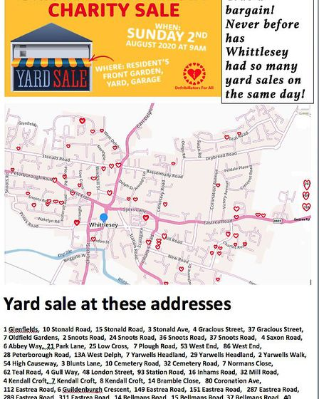The list of addresses taking part in the first Whittlesey grand charity sale on Sunday, August 2. Pi