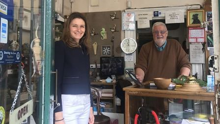 South East Cambs MP Lucy Frazer met with the owner of Cloisters Antiques, The Eel Catcher's Daughter