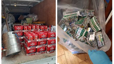 East Cambs Police searched a Soham property which has been used to sell illegal alcohol and cigarett