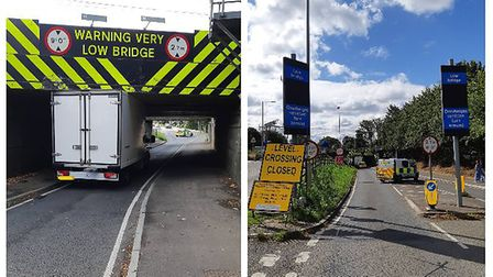 The lorry stuck the country's most hit bridge in Station Road, Ely on Tuesday 28 July. Pictures: Eas