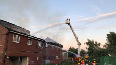 Crews spent three hours fighting the flames at Mepal Outdoor Centre yesterday. Officers have said th