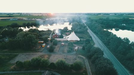 Aerial images showing last night's fire at the Mepal Outdoor Centre, near Chatteris. Pictures: Danie