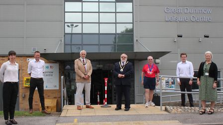 Great Dunmow Town Council mayor Mike Coleman and Councillor Martin Foley (both centre) with Beckie R