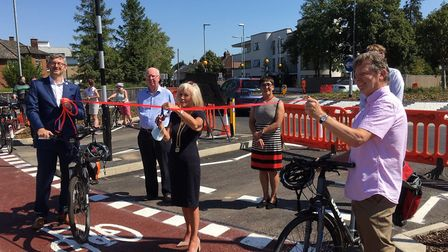 Dutch style roundabout was opened by the Vice-chairwoman of Cambridgeshire County Council, Cllr Lis