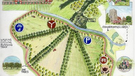 An artists impression of the new country park for Uttlesford created by John Harrison of Birch Galle