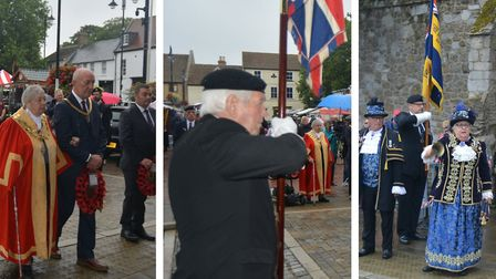 The mayor, Cllr Sue Austen, laid a wreath with the legion and town crier Avril Hayter-Smith offered