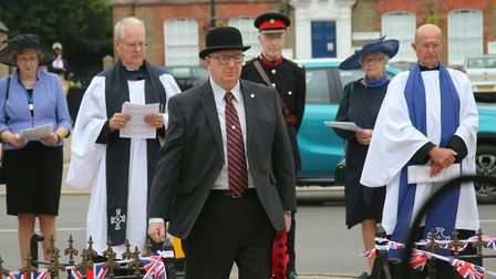 Mayor Cllr David Mason headed proceedings at the commemoration in Whittlesey for VJ Day. Around 80 p