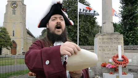 Chatteris Town Crier Lawrence Weetman gave a pre-recorded 'Cry For Peace' to mark the 75th Anniversa