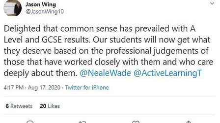 Executive principal of Neale-Wade Academy in March Jason Wing takes to Twitter.