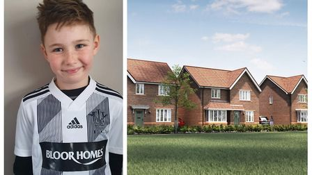 Callum Payne wearing the new Isleham Whites Under 9s kit sponsored by Bloor Homes, which is expected