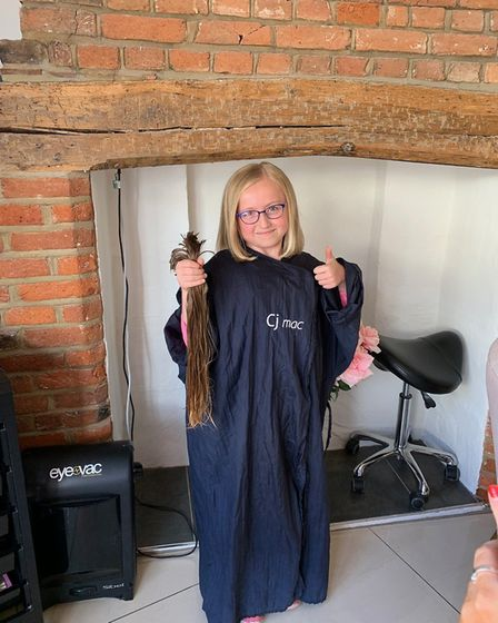Charlotte Brown, aged eight, had her hair cut in a Great Dunmow salon to donate to The Little Prince