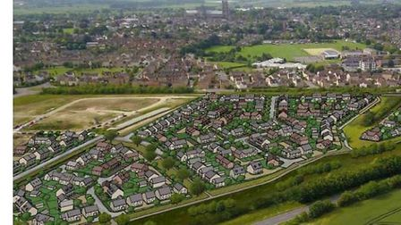 Aerial view of the housing estate at North Ely.