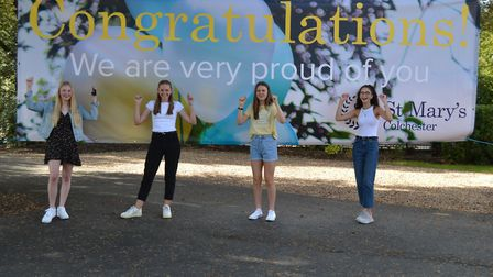 St Mary's students Jessica, Pippa, Grace and Zara celebrate their GCSE results day 2020. Picture: St