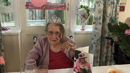 Joan Stock celebrating her 100th birthday in Dunmow. Picture: family