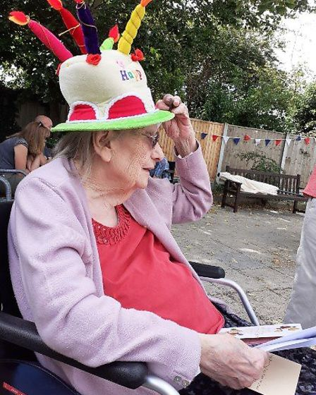 Joan Stock in a fun hat to celebrate her 100th birthday in Great Dunmow! Picture: family photo