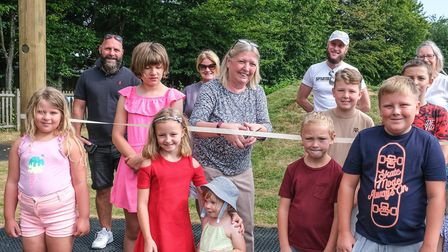 Councillor Susan Barker cuts the ribbon to officially open the new equipment installed in High Rodin