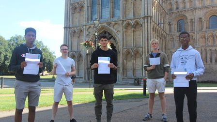 King's Ely students pictured with their GCSE results. Picture: KING'S ELY