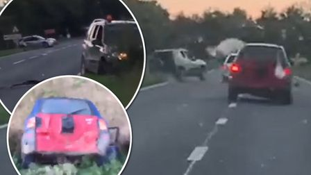 Shocking video clips were shared on' Facebook page of drivers smashing their cars into one and other