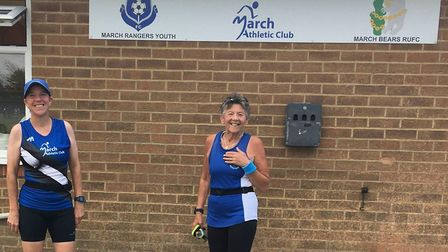 Wendy Harrison and Sue Ward competed in the Graysmoor 10k through August. Picture: MARCH ATHLETIC CL