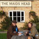 Lucy Frazer, MP for South East Cambridgeshire, visiting the Maids Head at Wicken last year during th