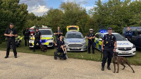 Ollie Smith in Dunmow with members of Uttlesford Community Policing Team. Picture: Essex Police