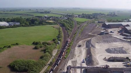 View (looking north east) of Ely North Junction from the aggregate yard, with the lines heading to P