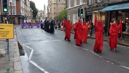 Extinction Rebellion protest in Cambridge. Pictures from Extinction Rebellion social media accounts.