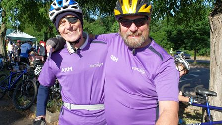 Eddie Baker and his son Roger taking part in the London to Cambridge Bike Ride 2017. Pictures: Cam S