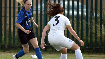 Whittlesey Athletic Ladies in action with Peterborough United Ladies in the club's first Women's FA