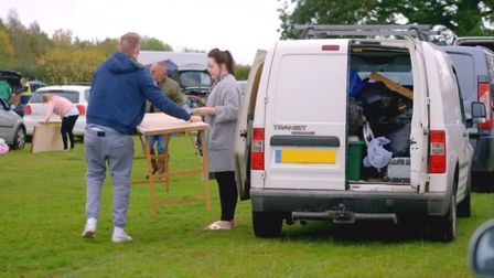 Setting up at Huntingdon Racecourse car boot sale. Picture: Two Four Broadcast Ltd/Netflix/Star Boot