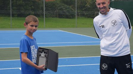 Joey Coleman was awarded The Lillian Mitchell Memorial Trophy by head coach Ollie Clark at Dunmow Te