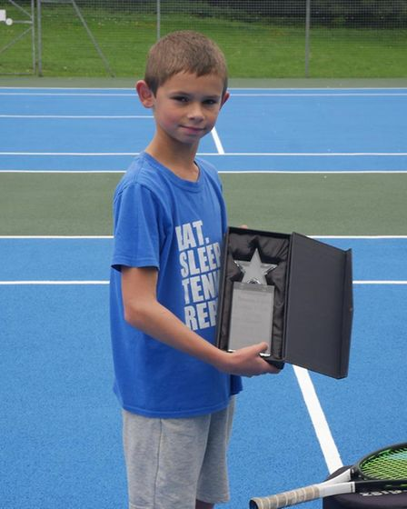 Joey Coleman was awarded The Lillian Mitchell Memorial Trophy. Picture: Dunmow Tennis Club