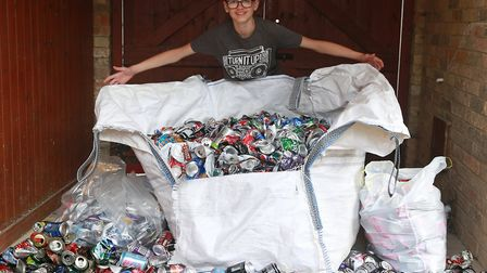 Young army cadet Frankie Newbatt has collected thousands of aluminium cans to help build hospital he
