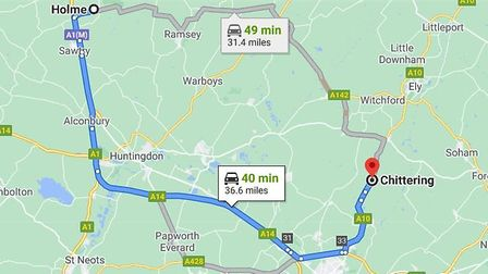 Police conducted a 32-mile pursuit starting at Holme at around 1600 on Saturday to Chittering before