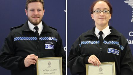 Cambridgeshire Police officers Kirsty Rollo and Jordan Brown have been praised for their work at a m