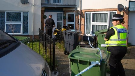 Police at the family home in Peterborough of missing teenager Bernadette Walker of Century Square in