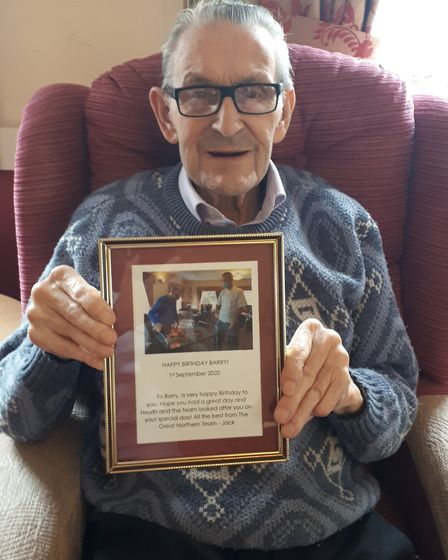 Train enthusiast Barry, who lives at The Gables in Chatteris, turned 91 and received a birthday mess