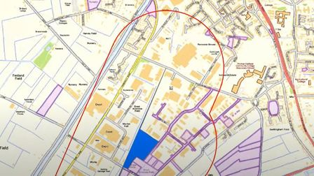 Map presented to Fenland councillors which passed a motion preventing the sale of its land around th