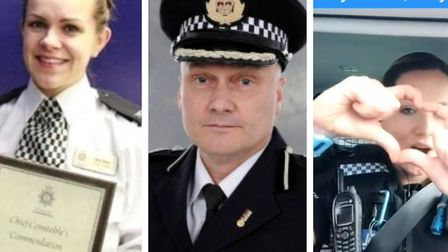 PC Amy Taylor (left) with chief constable Nick Dean and (right) one of the Tik Tok images that broug