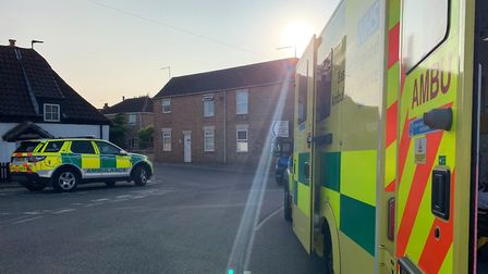 A motorcyclist was airlifted to Addenbrookes Hospital in Cambridge after colliding with a car on Eas