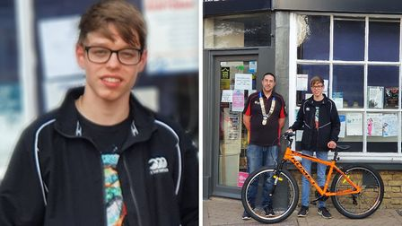 Whittlesey paper boy Nathan Kosciecha (left) collected a new bike paid for by the towns roundtable