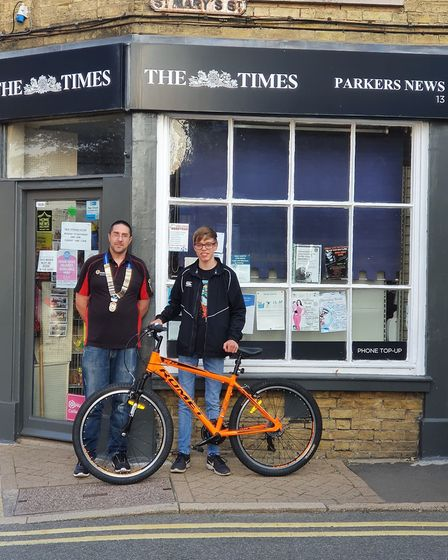 Stuart Rayner and Nathan Kosciecha outside Parkers News. Picture: Whittlesey Roundtable
