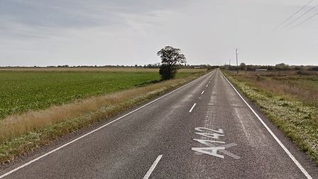Traffic is backed up on the A142 between Mepal and Chatteris after a crash between a car and motorbi