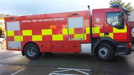 Firefighters along with a water carrier from Newmarket in Suffolk were called to a building fire in