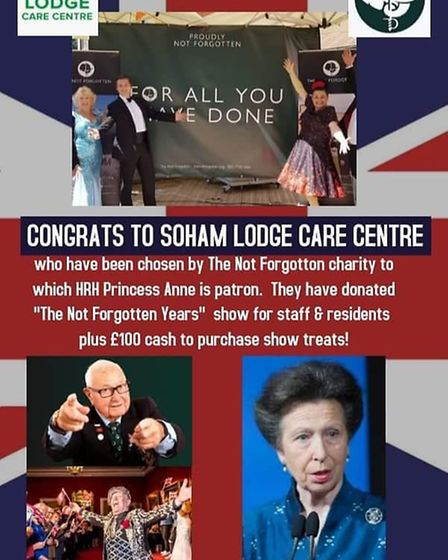 Residents at Soham Lodge Care Home will be treated to a concert of wartime music on Tuesday Septembe